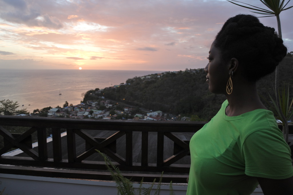 Admiring the sunset from the home we rented