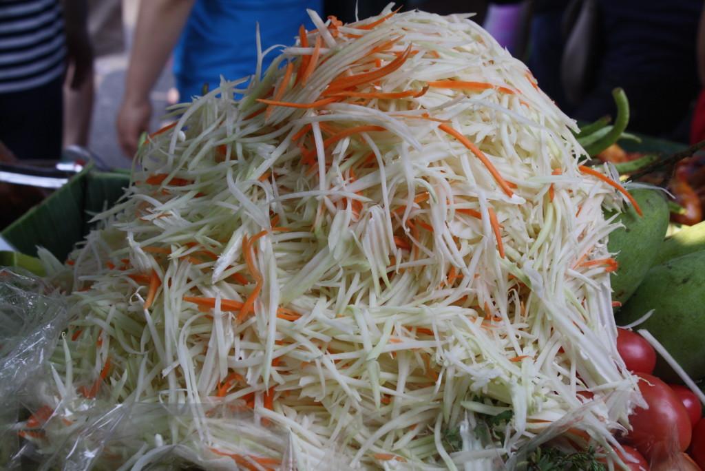 Shredded Papaya at a Market in Bangkok