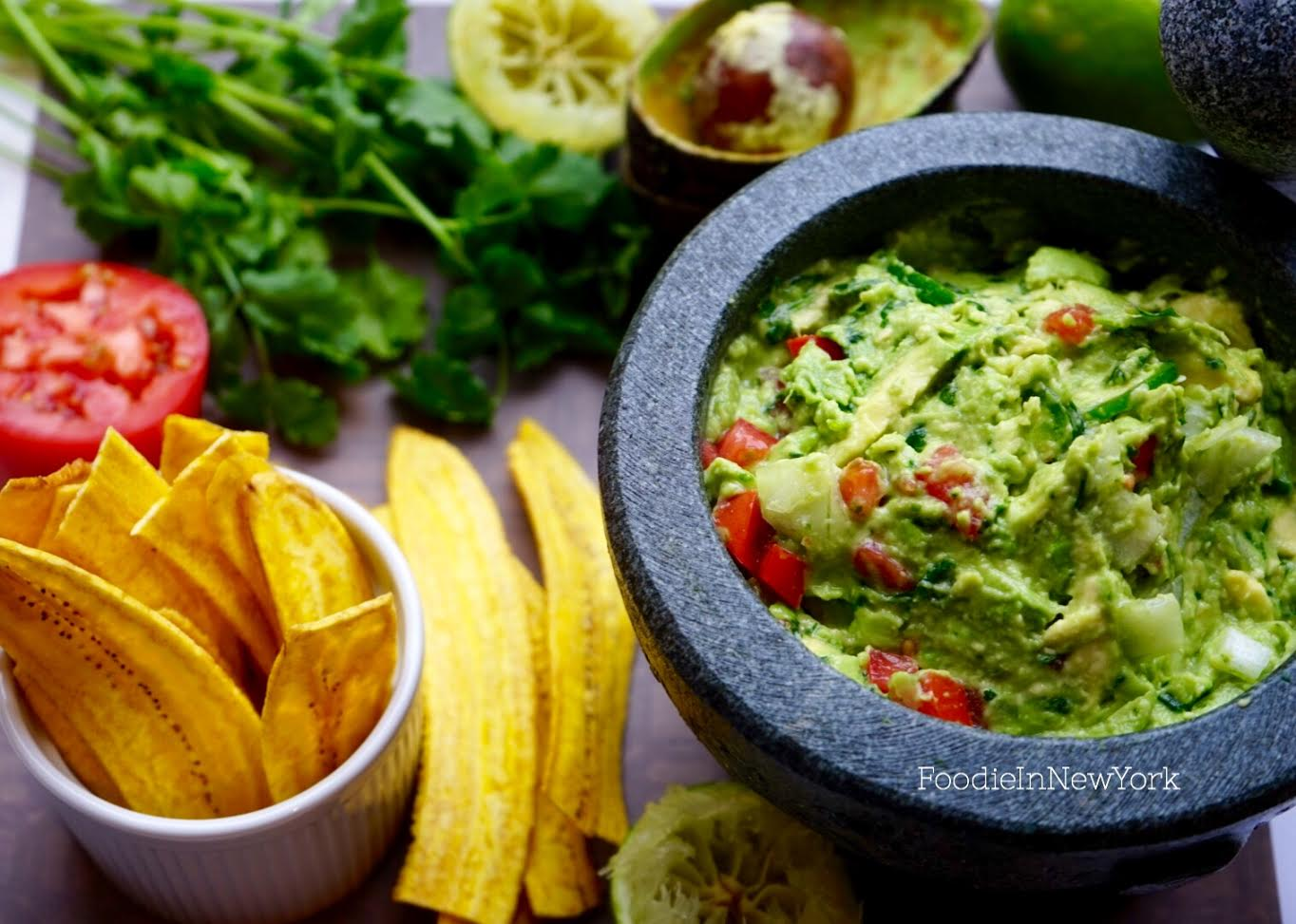 guacamole with baked plantain chips