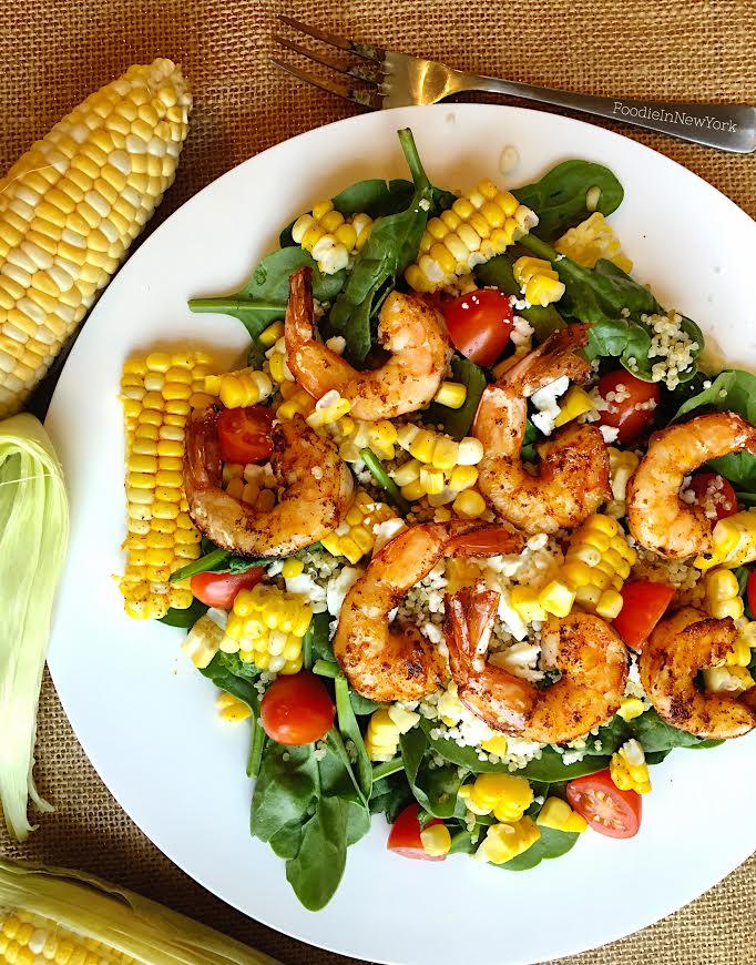Corn and Quinoa Salad with Shrimo