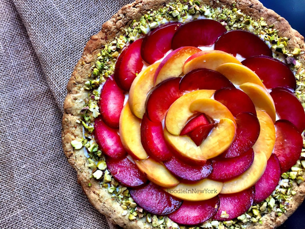 Peach and Plum Tart with Pistachio-Almond Crust