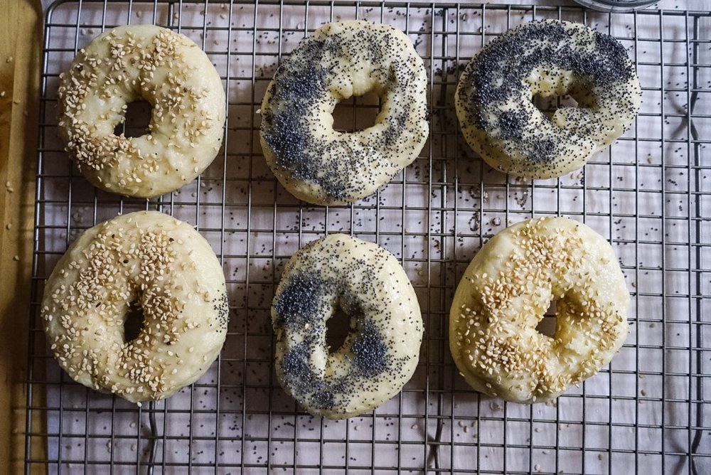 Lightly brush the bagels with water, then sprinkle with sesame seeds or poppy seeds.