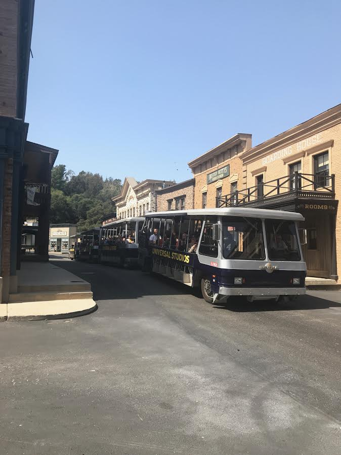 A tram giving a tour from Universal Studios