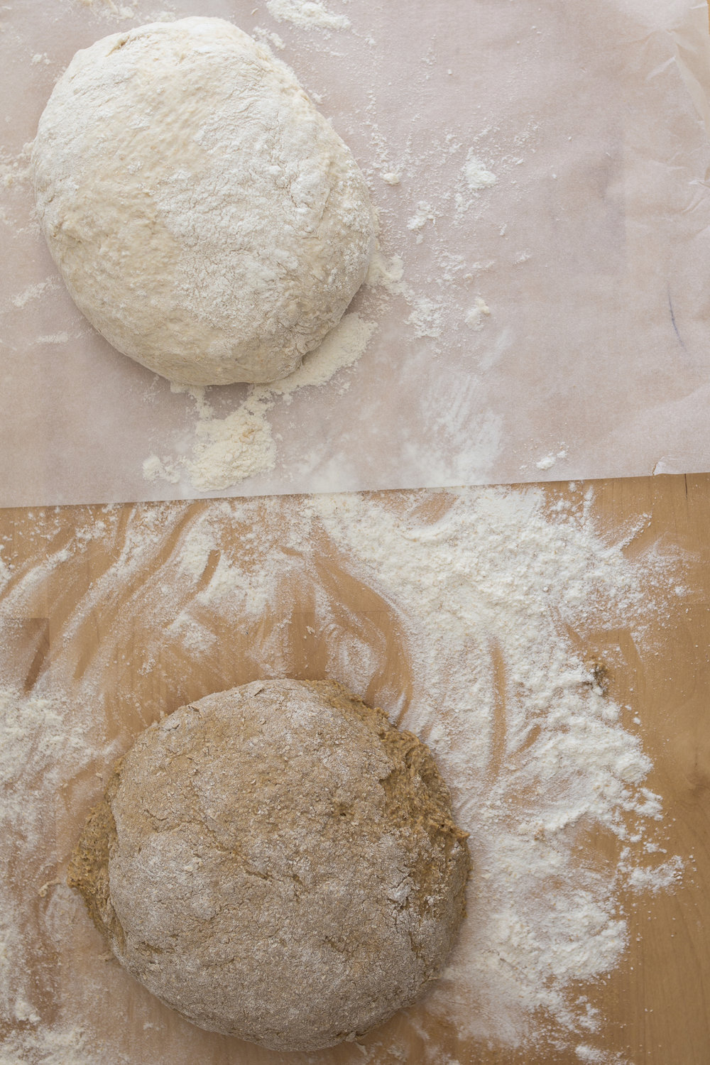 Breads proving. Top is Jim Lahey's no-knead bread and botton is the Emily Dickinson recipe.