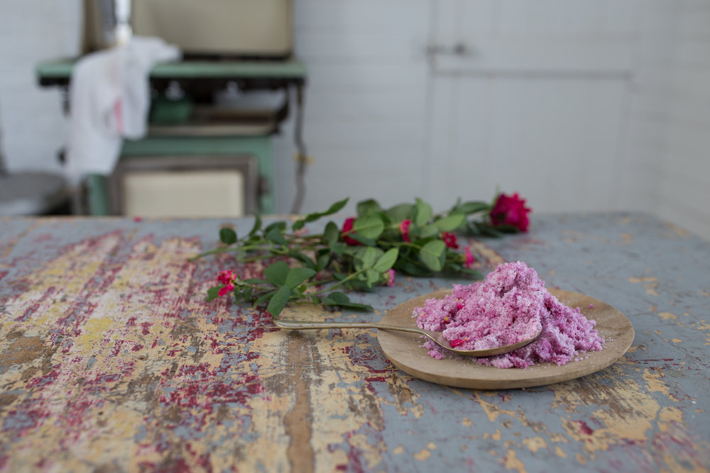 The rose sugar, which is simply the rose petals blitzed with caster sugar.