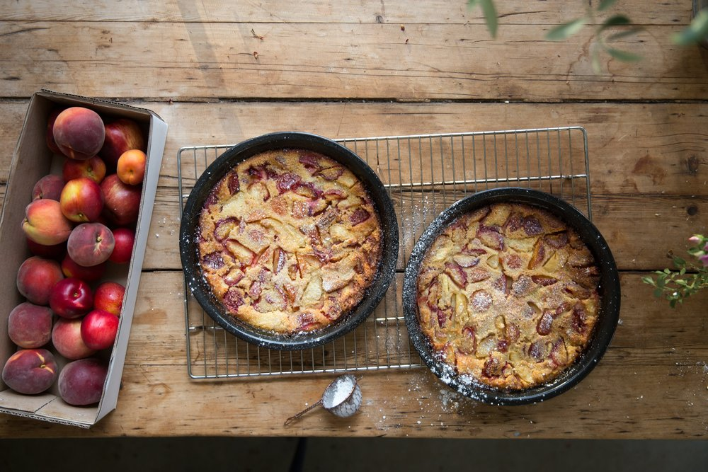 This is a peach clafoutis Annabelle made in the summer, but below Gillian gives us her recipe for a much more autumnal apple and rosemary version.