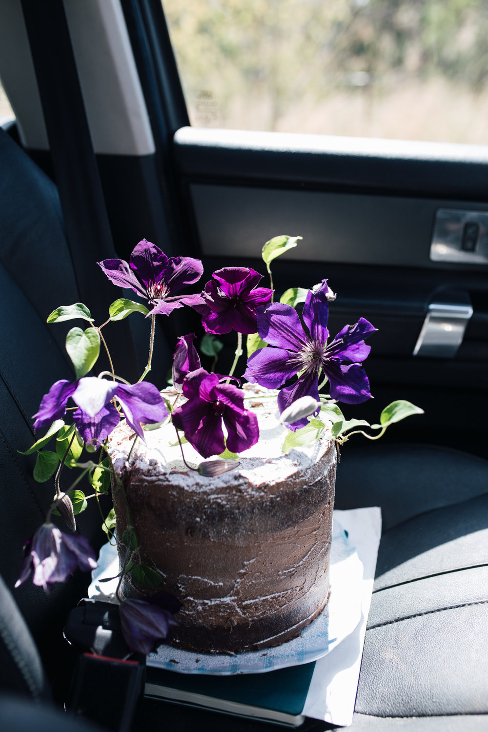 chocolate birthday cake with clematis-1.jpg