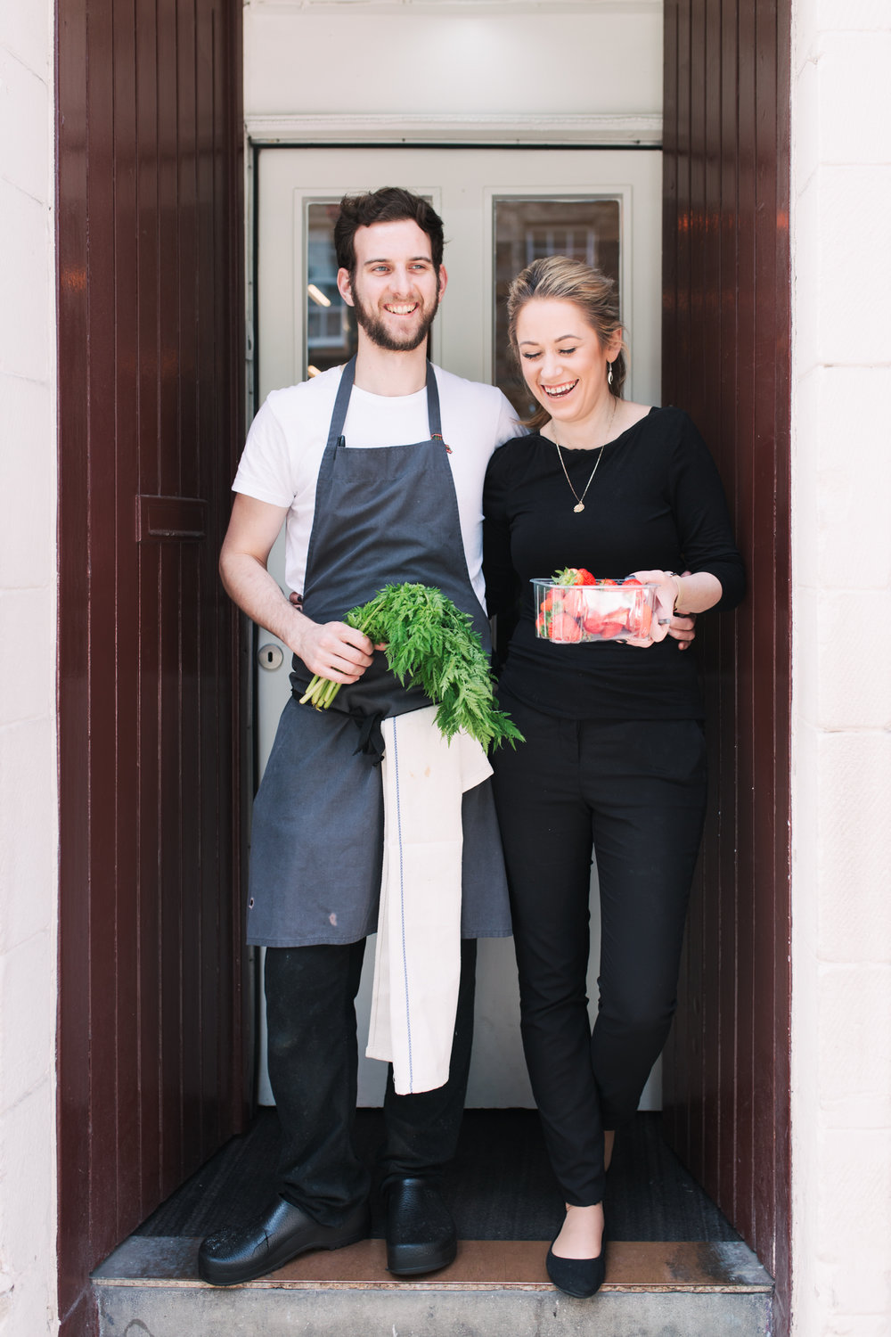 Marcus and Jazz, restauranteurs in Edinburgh who put Gillian in touch with a forager for ingredients for the cake
