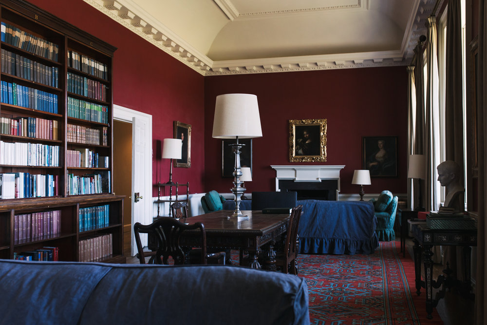The upstairs library at Auchinleck House
