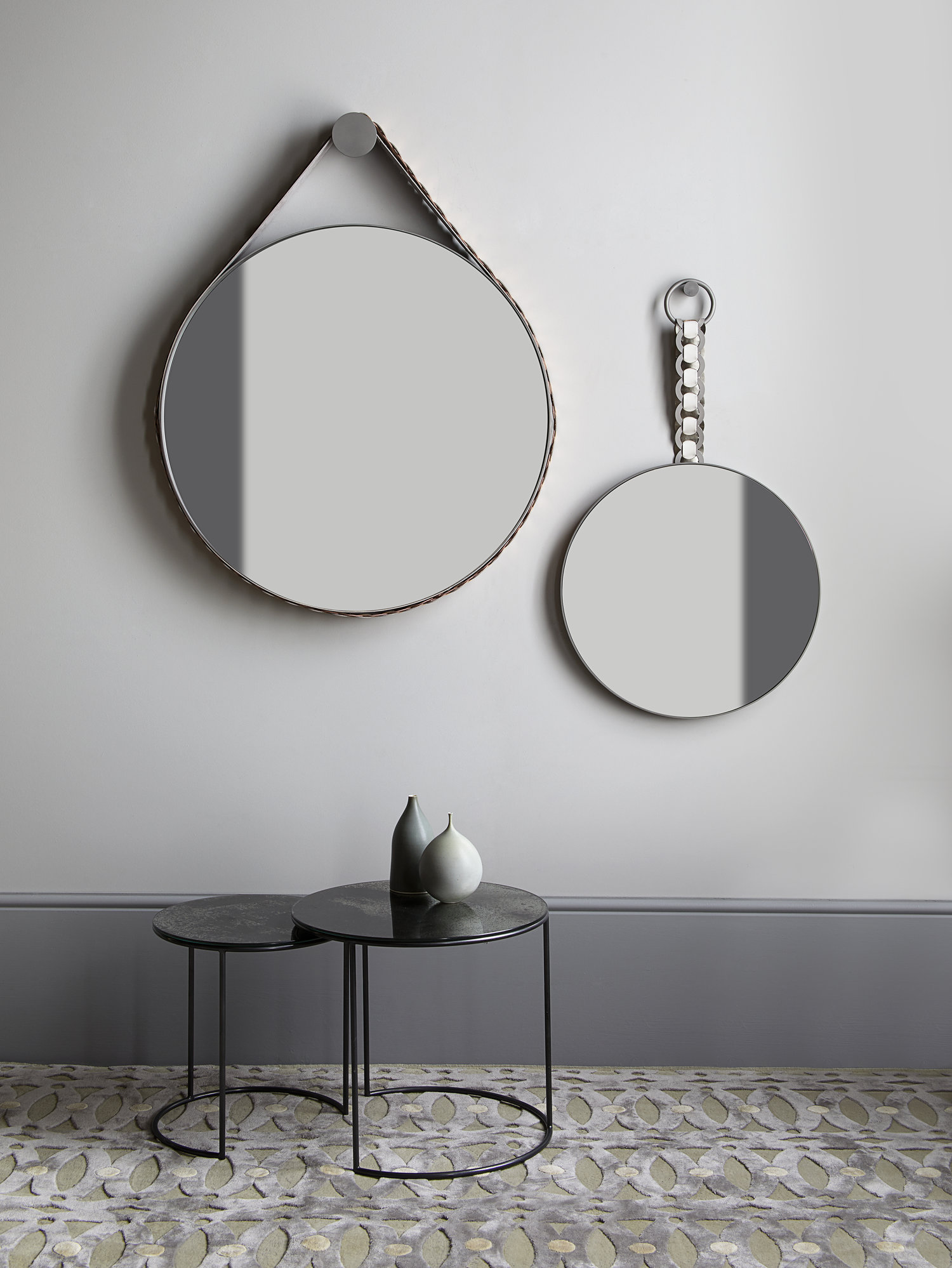 Braid strap pendant mirror