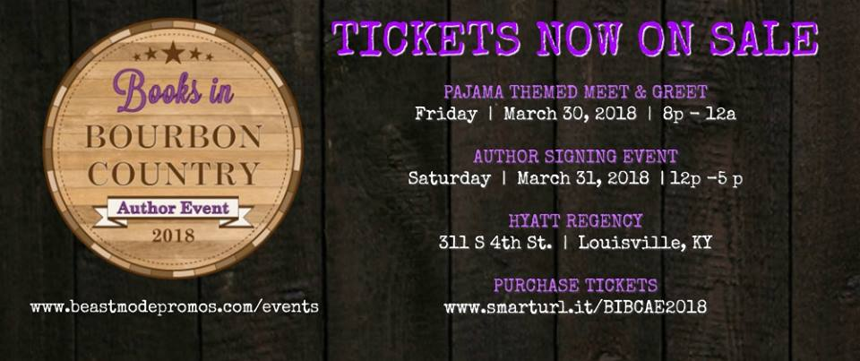 - The Books in Bourbon Country Author Signing Event will be held March 31 at the Hyatt Regency in downtown Louisville from 12-5pm. Tickets for the event can be purchased by clicking event logo above. There is also a pre-signing Meet & Greet Friday night March 30 from 8pm-Midnight. Wear pajamas, and I'll sign them in my finest cursive…or not!