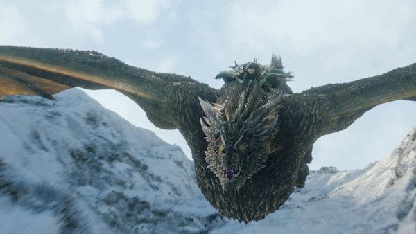 Jon (Kit Harrington) Riding Rhaegal.