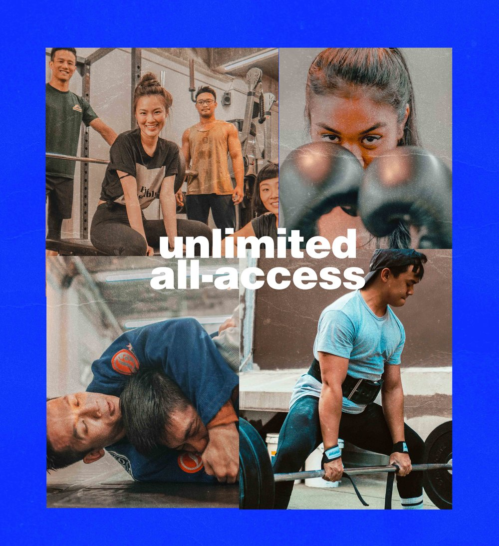 3.THEALL-ACCESSUNLIMITEDCOMBO$179 / Unlimited Sessions* - THIS PACK IS FOR THOSE WHO WANT TO START STRONG. CHANGE YOUR LIFE WITH AN ALL-ACCESS COMBO of off-peak strength & hiit classes, muay thai, jiu-jitsu & yoga. this means if you feel like switching things up on a whim, you can. as the cliche goes - you have one life. why not do it all?unlimitedstrength + hiit (OFF-PEAK)muay thaibrazilian jiu-jitsu& yogano contracts, no commitments.join the club.↓ tap to purchase now