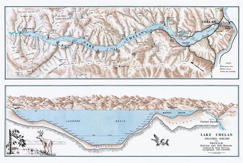 Lake Chelan Map Lake Chelan Relief Map — black dog chelan
