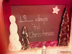 chalkboard art, Christmas countdown, snowmen and trees