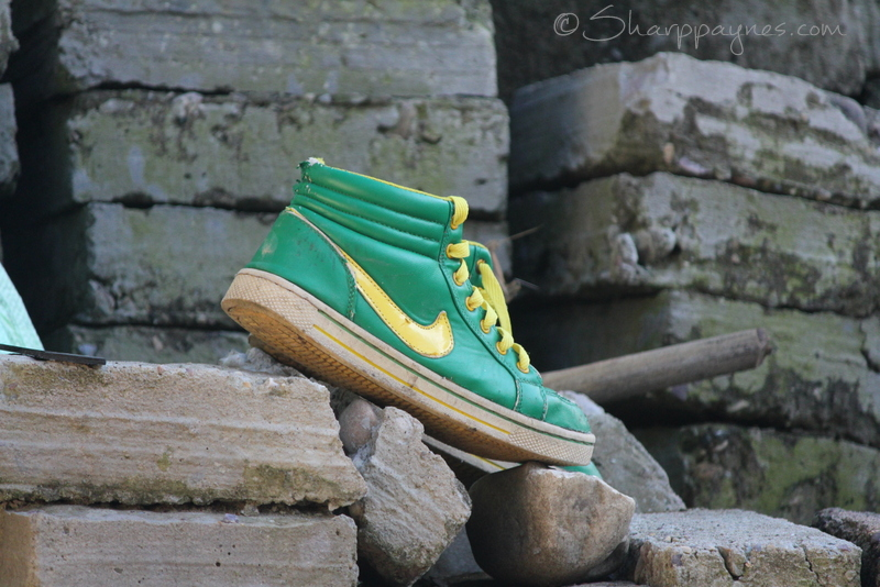 one lone shoe, U of O Ducks, Oregon Ducks, a shoe without it's mate, throw away society