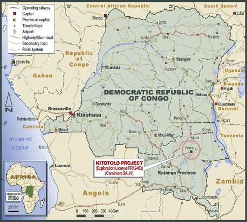 "Project located 40km SW of AVZ's 'world-class' ""Manona"" lithium project and around 500kms due north of Lubumbashi, the capital of the Katanga Province in the south of DRC"
