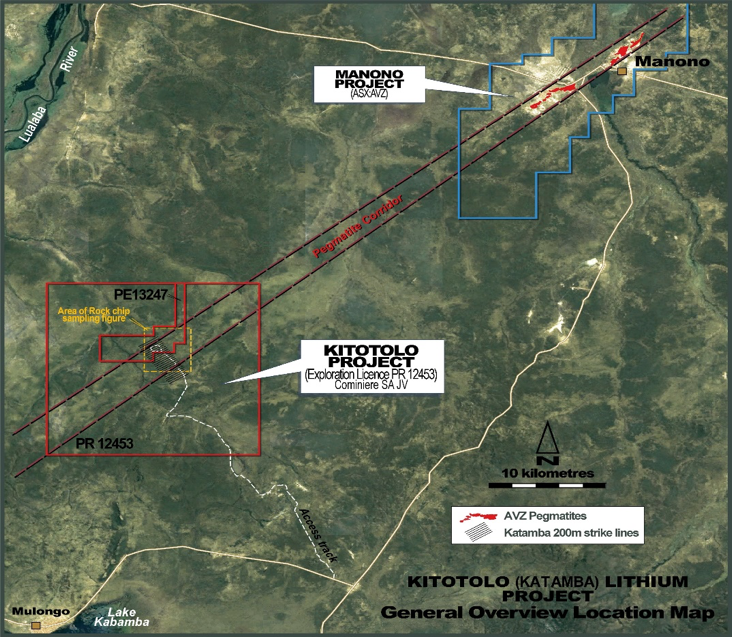 Along strike from AVZ's 'world-class' Manona Lithium Project, which is considered to be potentially one of the largest lithium-rich LCT) deposits in the world.