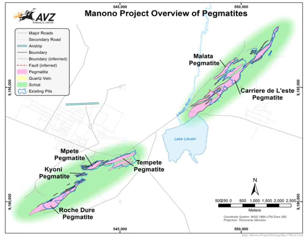 Manono lies just 40 kilometres north-east of the Kitotolo Project.AVZ's Manono Lithium Project is potentially one of the largest lithium-rich LCT (Lithium, Caesium, Tantalum) pegmatite deposits in the world.