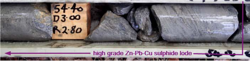 DDH HP 027, portion of core from 1.9 metres (53.80 – 55.70m downhole) at 27.1% Zn, 8.7% Pb, 1.5% Cu, 59.0g/t Ag