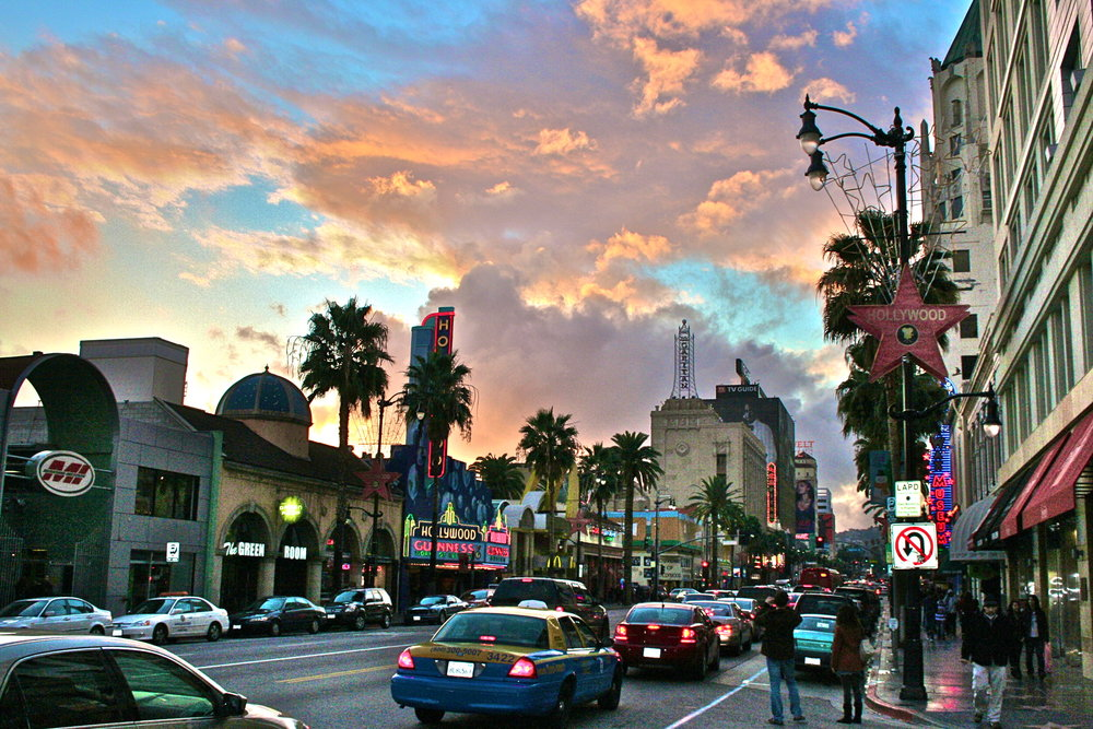 Hollywood - Palm trees line star-studded streets at the entertainment capital of the United States and center of the world's film industry.