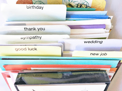 This is how I've organized my greeting cards. Believe it or not, there used to be MANY more than what you see here.