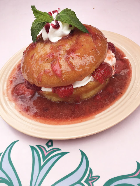 From now until the Holiday season, guests can indulge in this moist, creamy and delicious classic Strawberry Shotcake dessert at the Plaza Inn, inside the Disneyland Theme Park.