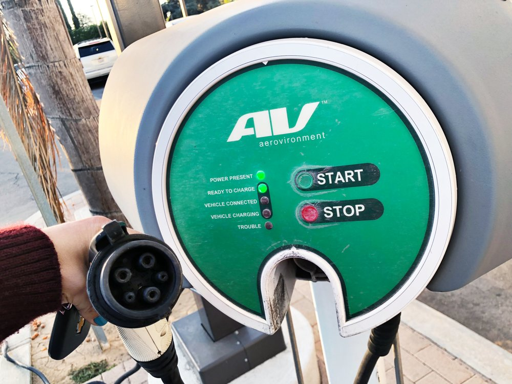 A Level 2 Charging Station at a Chevrolet Car Dealership in Van Nuys, CA