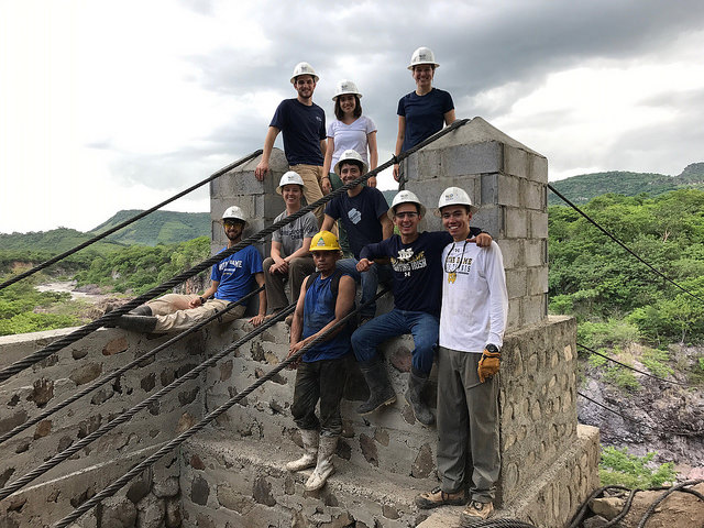 The University of Notre Dame team constructing their 2017 footbridge in Las Pencas, Nicaragua.