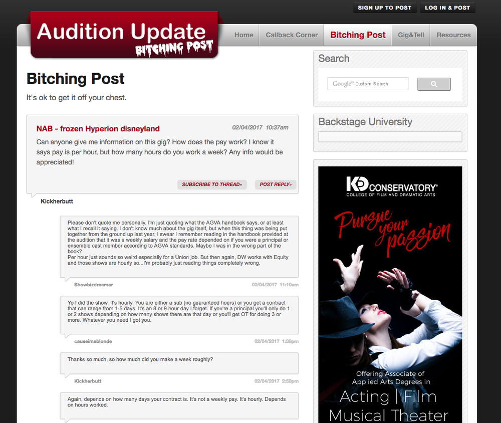 Audition Update bitching post