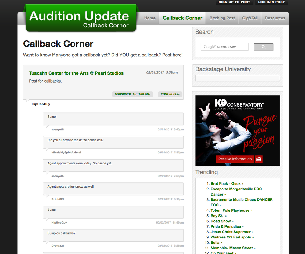 Audition Update callback corner