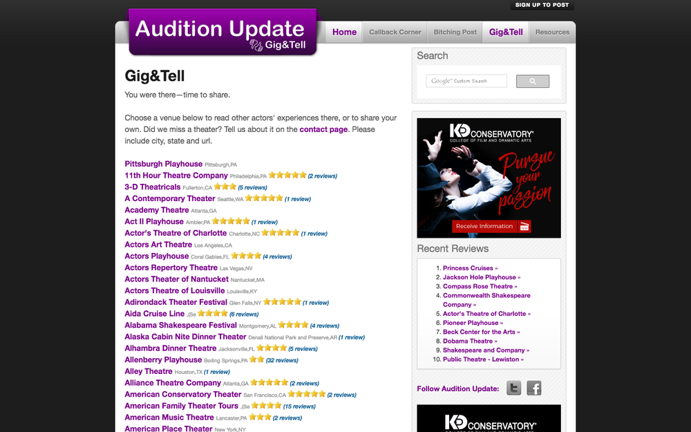 Audition Update gig & tell