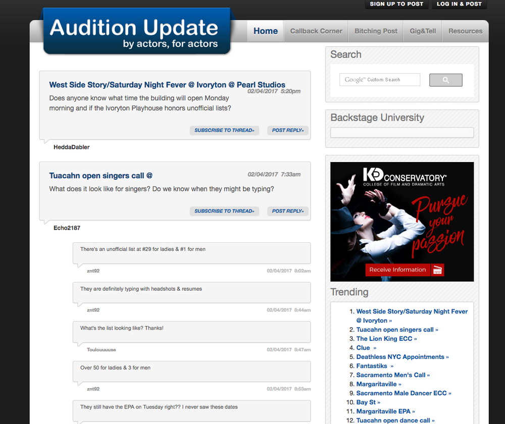 Audition Update home page