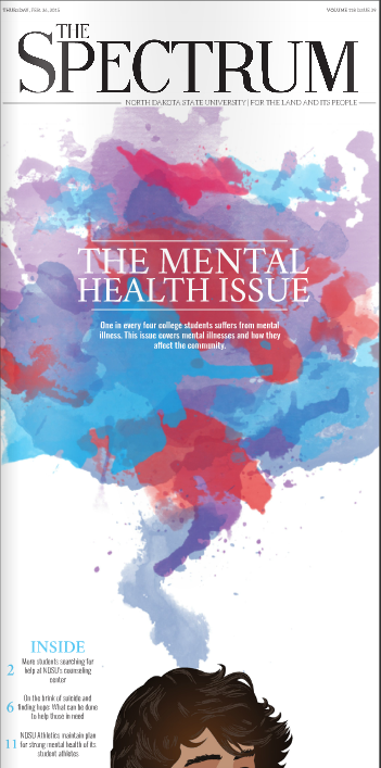 - Front page of our monthly special edition. This issue focused on mental health.