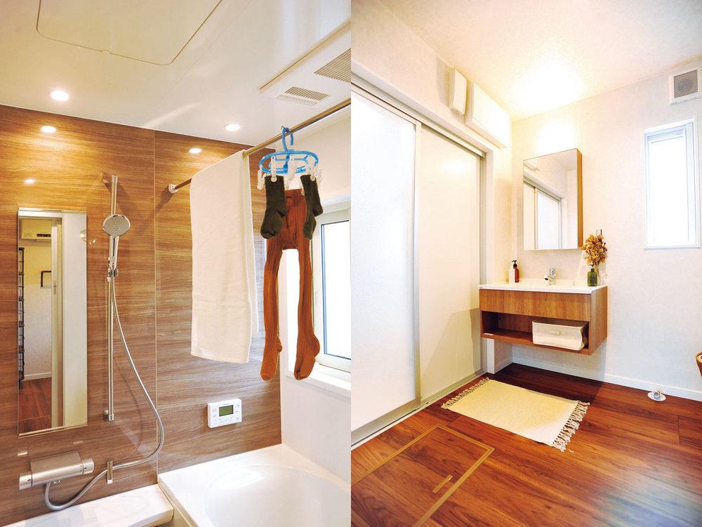 みんなで使える広々洗面スペース  すっきりとシンプルな洗面まわりは、赤ちゃんや子どもの世話もしやすい少し広めのつくり。換気浴室乾燥暖房機つきで、寒い日も快適。「乾燥機能もあるので、手早く濡れたものを乾かしたい時にも便利です」