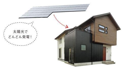 """工夫された屋根の形状やパネルの配置で効率のいい発電を行うことで、""""ゼロエネルギー住宅""""を実現。異なる材質を組み合わせたおしゃれな外壁もポイント"""