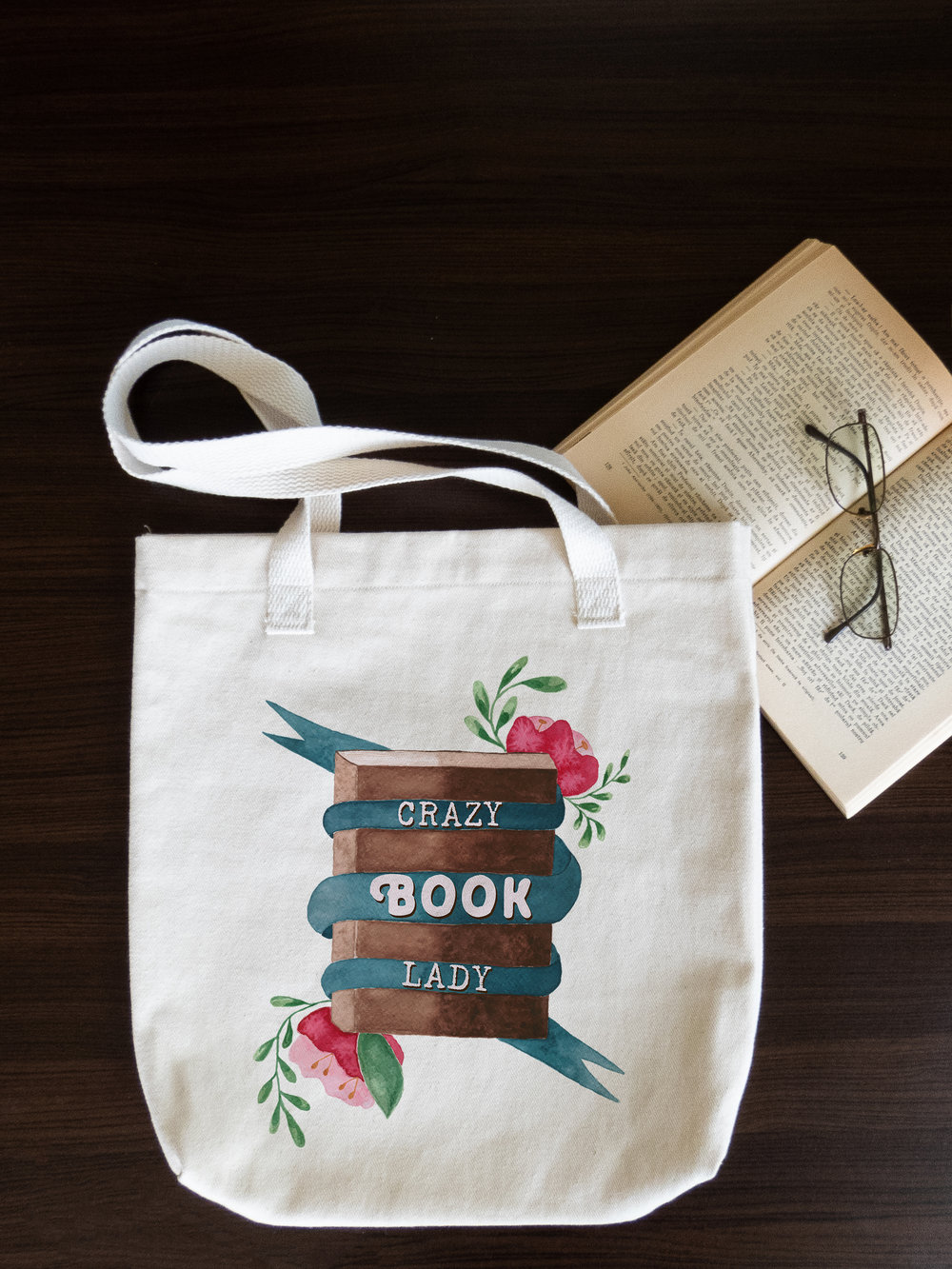 Crazy book lady tote bag with book.jpg