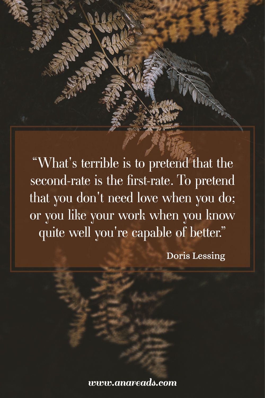 Dorris Lessing The Golden Notebook inspiring quote