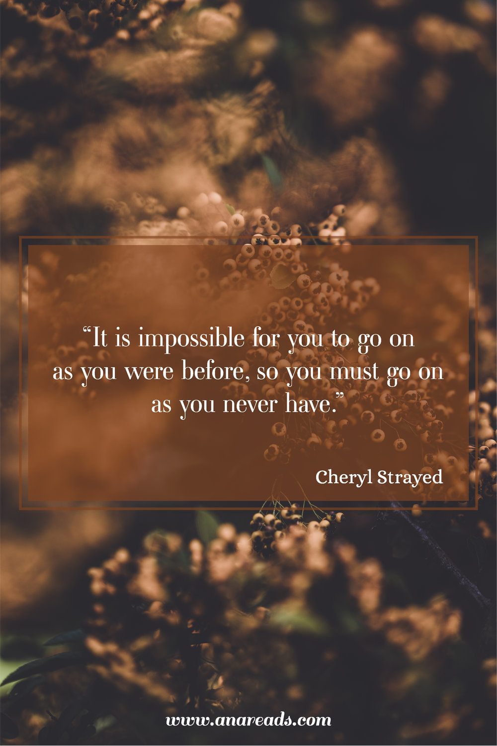 Cheryl Strayed quote Dear Sugar - it is impossible for you to go on