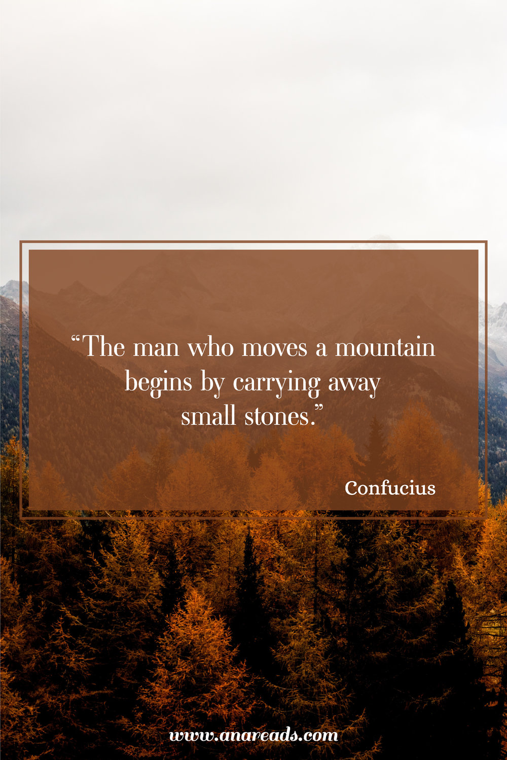 the man who moves a mountain begins by carrying away small stones - confucius quote