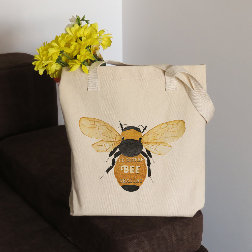 rather be reading - cotton tote bag for book lover