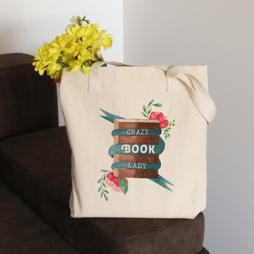 crazy book lady tote bag for book lover