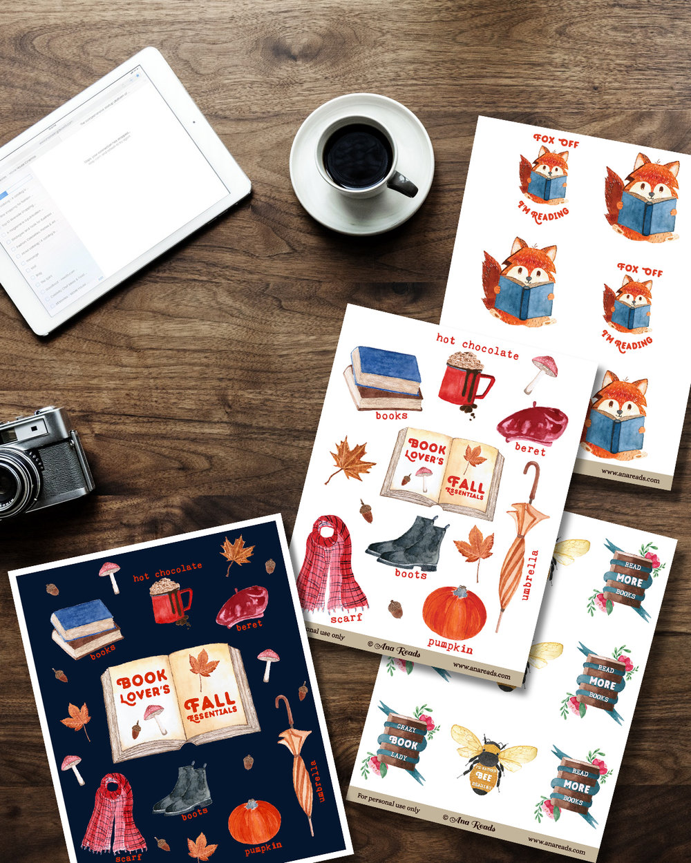 free planner stickers - book lover fall poster