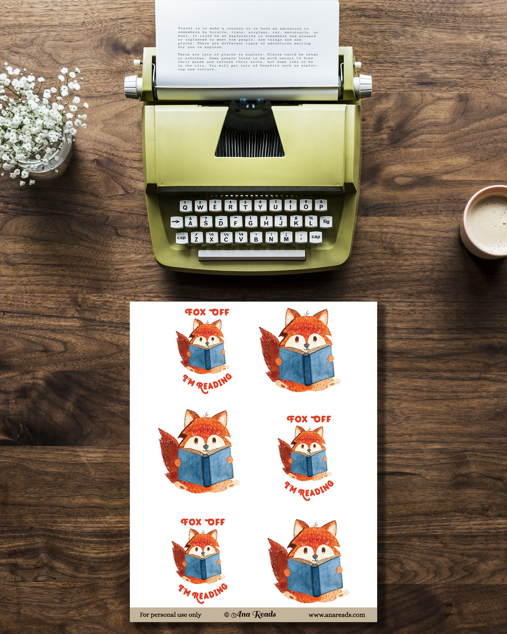 free planner stickers with fox reading