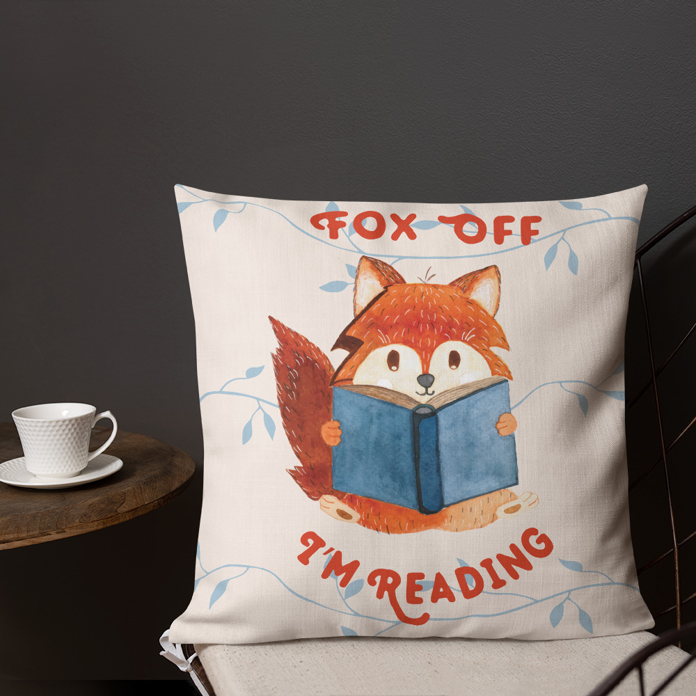 reading fox throw pillow
