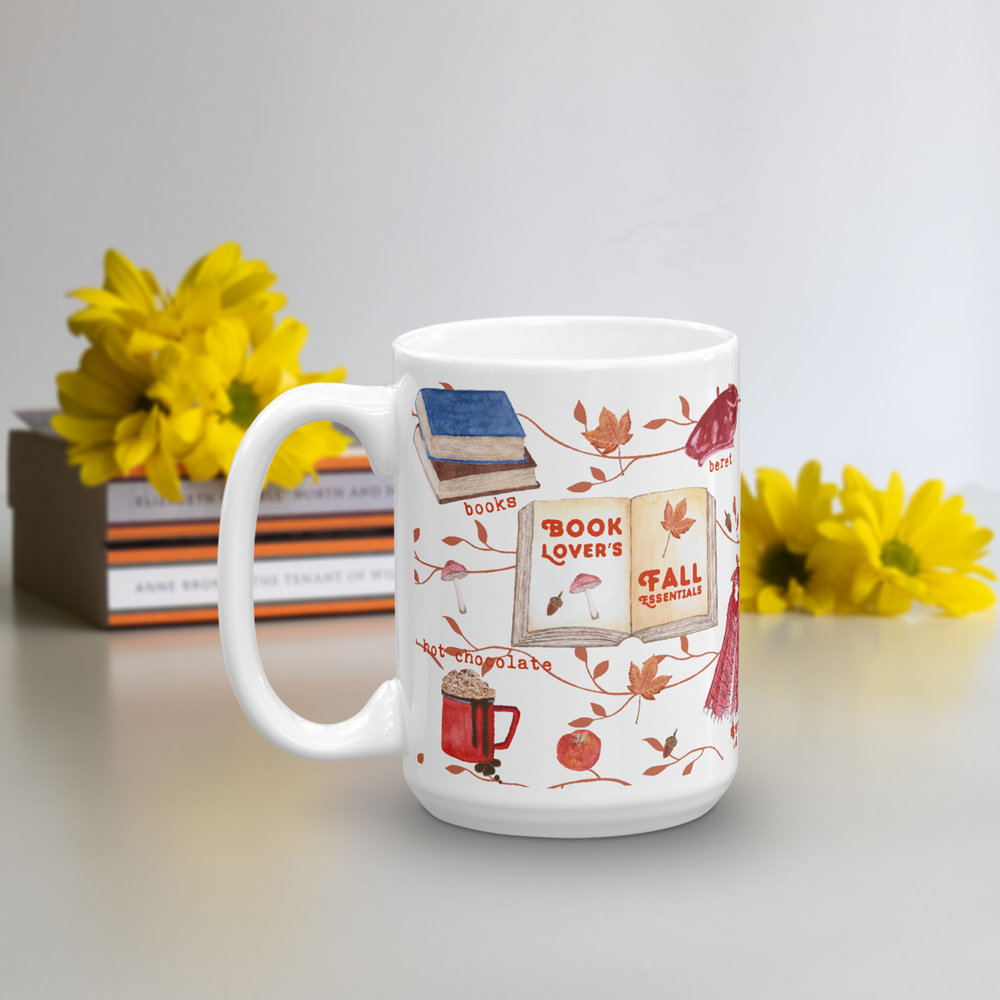 fall essentials book lover coffee tea mug
