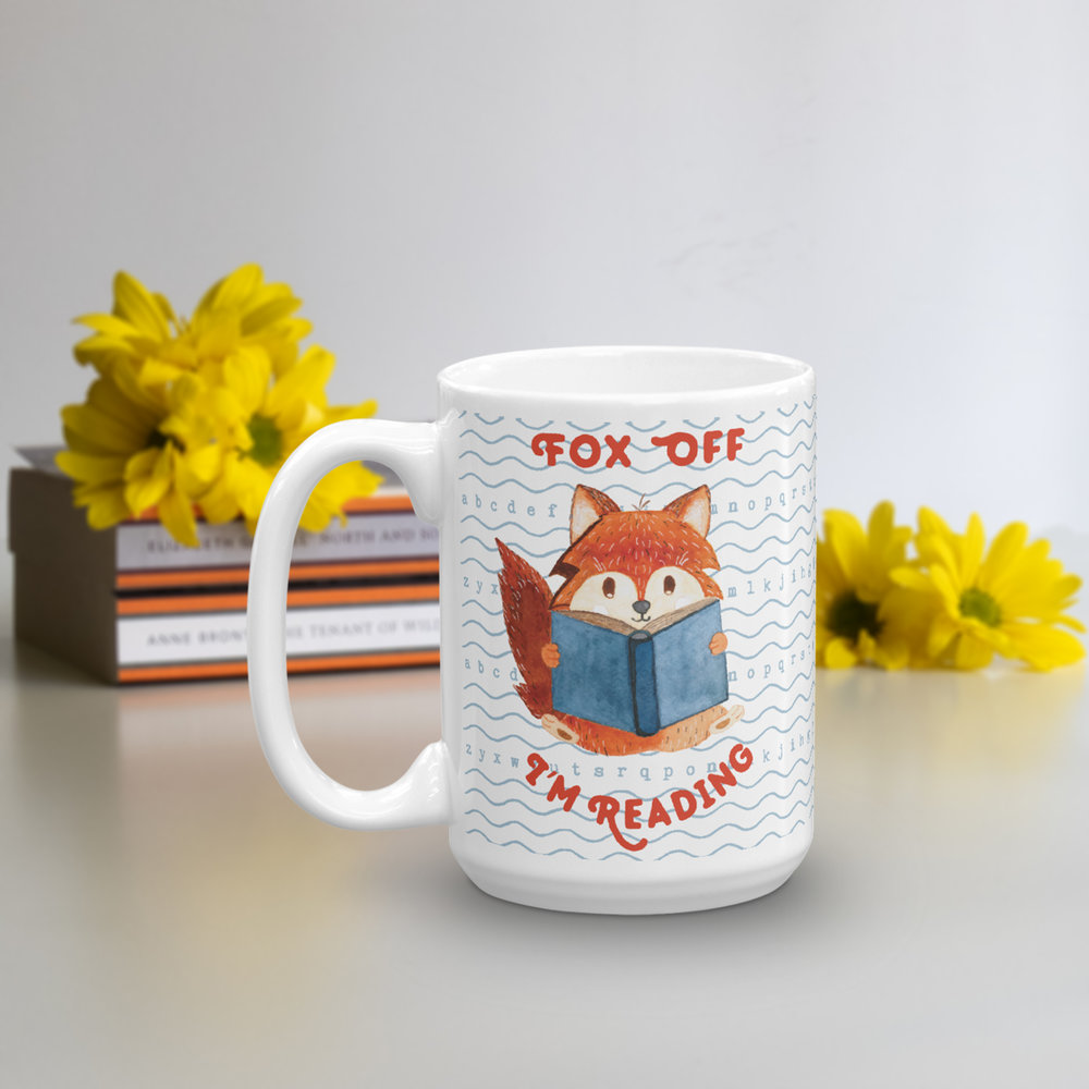 fox off i'm reading - reading fox coffee mug