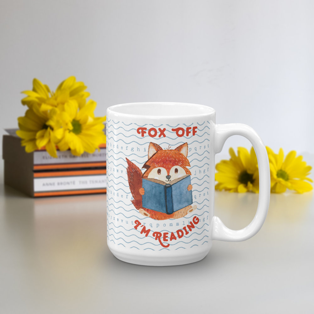reading fox tea coffee mug - fox off i am reading gift