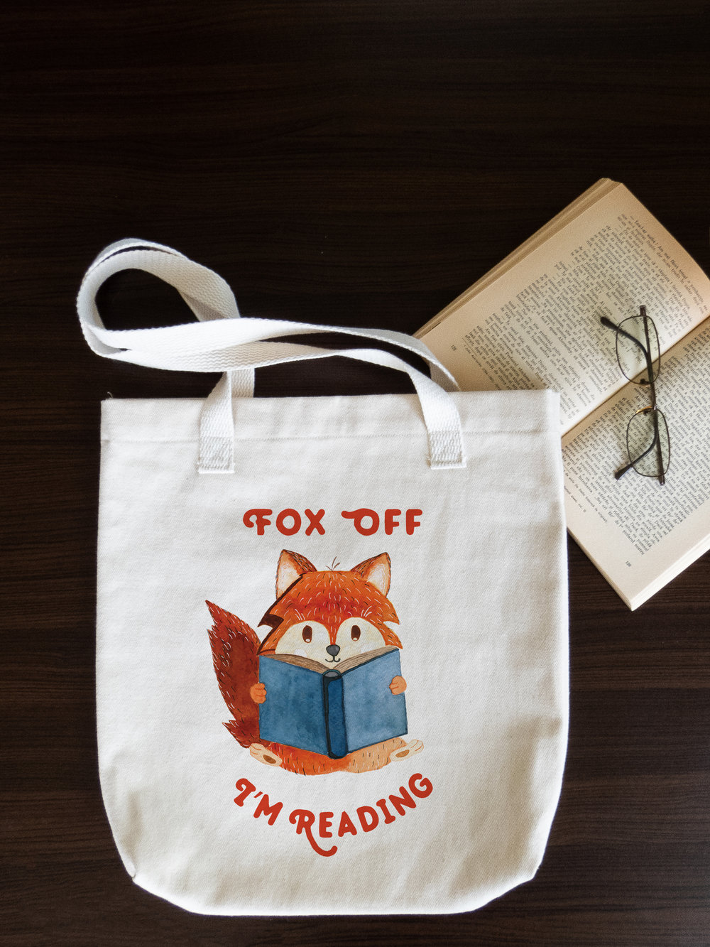 fox off i am reading tote bag - natural cotton tote bag - eco friendly