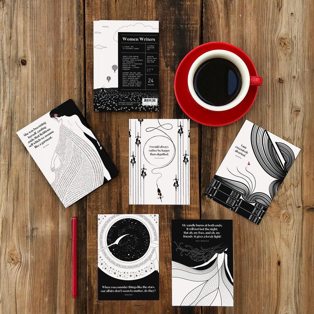 Women Writers Literary Postcard Set, Book Lover Gift for Readers and English Majors